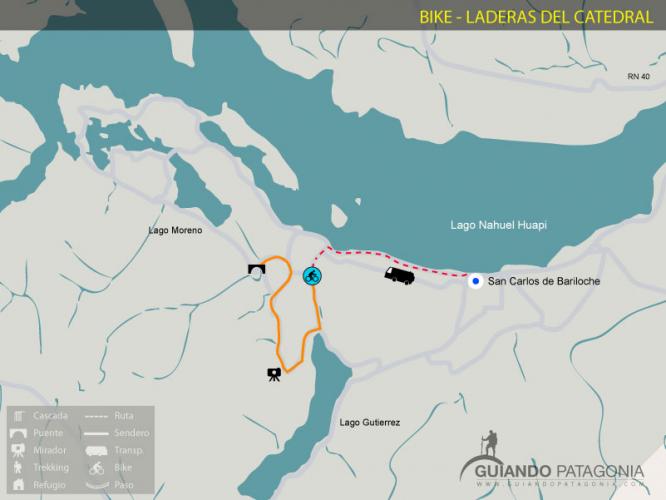 In Cerro Catedral, Río Negro, Argentina you can Laderas del Catedral en Bicicleta / MTB with LATITUR
